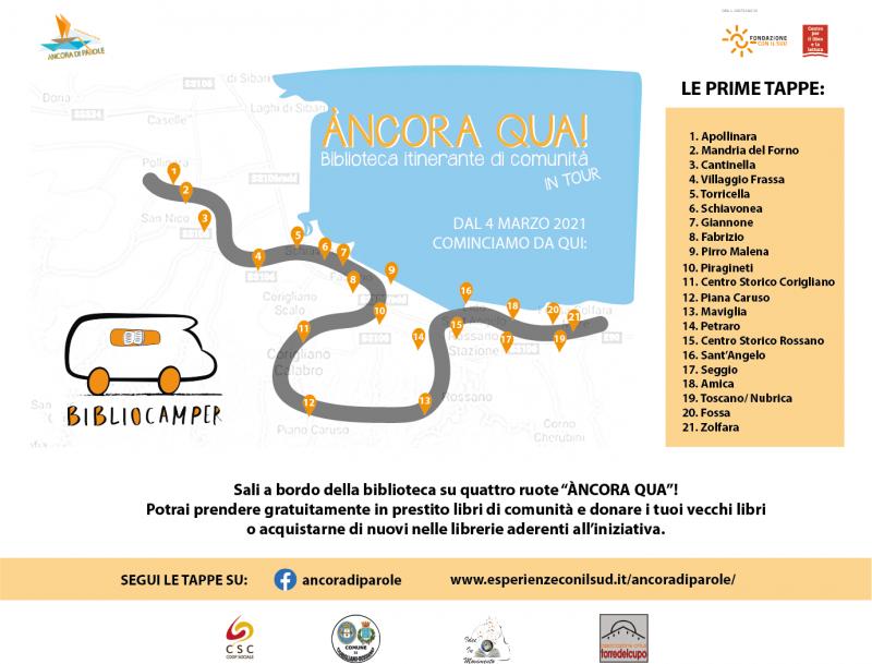 """Dal 4 marzo 2021 """"ÀNCORA QUA"""" il bibliocamper in tour raggiungerà le contrade e i centri storici di Corigliano-Rossano."""